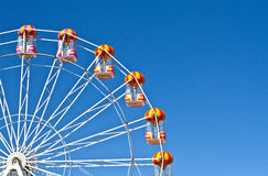 Ferris wheels and blue sky in the background. Ferris wheels in Aberdeen, Scotland Royalty Free Stock Photography