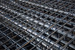 Ferro-concrete reinforcement. With tensioned cables in the superstructure of the bridge Royalty Free Stock Photography