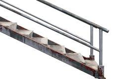 Ferro da escadaria, escadaria, escada de aço, velho da escadaria do ferro isolada no fundo branco foto de stock royalty free