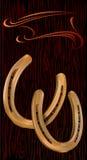 Ferro di cavallo dorato due Fotografie Stock Libere da Diritti