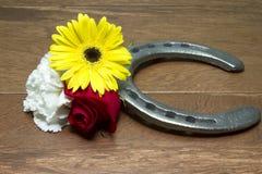 Ferro di cavallo su legno con tre fiori della Triple Crown fotografie stock libere da diritti