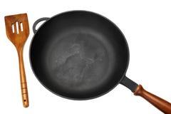Ferro fundido Skilletou Pan White Isolated da fritura, vista superior imagem de stock