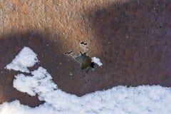 Ferro oxidado velho com um furo na corrosão no inverno imagens de stock royalty free