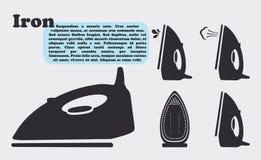 Ferro semplice dell'icona con vapore Immagine Stock Libera da Diritti