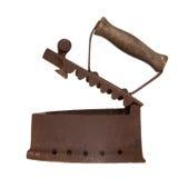 Ferro velho, flatiron do ferro de carvão no branco Imagens de Stock Royalty Free