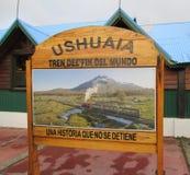 Ferrocarril南方的Fueguino乌斯怀亚阿根廷 免版税库存照片