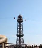 Ferrocarril aéreo de Transbordador Aeri del Port- en el puerto Barcelona Imagen de archivo