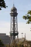 Ferrocarril aéreo de Transbordador Aeri del Port- en puerto Barcelona Fotos de archivo libres de regalías