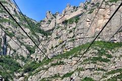 Ferrocarril aéreo en la montaña Montserrat Imagenes de archivo