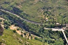 Ferrocarril aéreo en la montaña Montserrat Fotografía de archivo libre de regalías