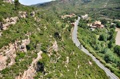 Ferrocarril aéreo en las montañas Montserrat Fotos de archivo