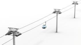 Ferrocarril aéreo y elevación aislados en el fondo blanco Visión superior 3d libre illustration