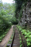 Ferrocarril abandonado en la garganta Guam, Krasnodar Krai, Rusia Fotos de archivo