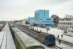 Ferrocarril Aktyubinsk. Imagen de archivo libre de regalías