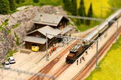 Ferrocarril alpestre Foto de archivo libre de regalías