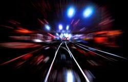Ferrocarril blured noche Imágenes de archivo libres de regalías