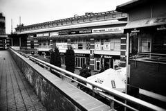 Ferrocarril británico Mirada artística en blanco y negro Foto de archivo