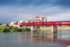 Ferrocarril bro över den Ebre floden i Tortosa Arkivfoto