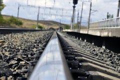 Ferrocarril, carril Foto de archivo libre de regalías