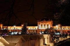 Ferrocarril central en el tiempo de la Navidad, Zagreb, Croacia Fotos de archivo