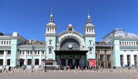 Ferrocarril de Belorussky-- es uno de los nueve ferrocarriles principales en Moscú, Rusia Fotografía de archivo