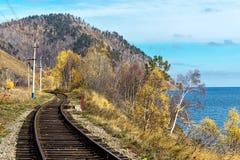 Ferrocarril de Circum-Baikal de la pista Fotografía de archivo