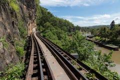 Ferrocarril de la muerte en Kanchanaburi Foto de archivo libre de regalías