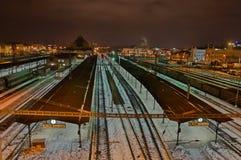 Ferrocarril de la noche Imagen de archivo libre de regalías