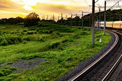 Ferrocarril de la ventana del coche de tren foto de archivo libre de regalías
