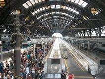 Ferrocarril de Milano Centrale Foto de archivo libre de regalías
