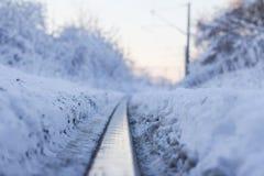 Ferrocarril del invierno Fotografía de archivo libre de regalías