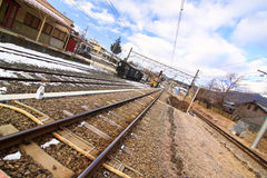 Ferrocarril del japonés del invierno Imagen de archivo