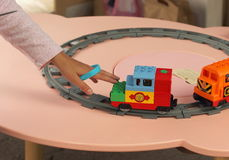Ferrocarril del juguete Fotografía de archivo