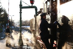Ferrocarril del vapor - choo-choo, Sajonia, Alemania Foto de archivo