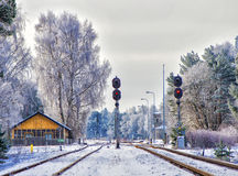 Ferrocarril en ciudad del invierno Imagen de archivo