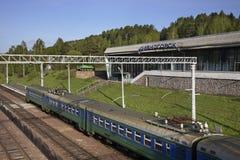 Ferrocarril en Divnogorsk Krai de Krasnoyarsk Rusia Foto de archivo libre de regalías