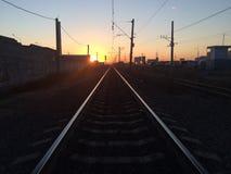 Ferrocarril en la mañana Foto de archivo libre de regalías