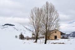 Ferrocarril en la nieve Fotografía de archivo