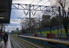 Ferrocarril en la provincia de Buenos Aires, la Argentina fotos de archivo libres de regalías