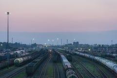 Ferrocarril en la puesta del sol Imagenes de archivo