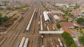 Ferrocarril en Surabaya Indonesia fotografía de archivo