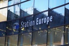 Ferrocarril Europa en Bruselas, Bélgica fotografía de archivo libre de regalías