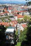 Ferrocarril funicular al castillo de Ljubljana, Eslovenia Imagen de archivo libre de regalías