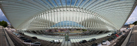 Ferrocarril futurista de Lieja-Guillemins foto de archivo libre de regalías