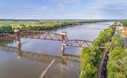 Ferrocarril Katy Bridge en Boonville sobre el río Missouri foto de archivo libre de regalías