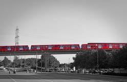 Ferrocarril ligero de los docklands del monorrail fotos de archivo libres de regalías