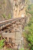 Ferrocarril muerto al lado del acantilado, a lo largo del río de Kwai Imagen de archivo libre de regalías