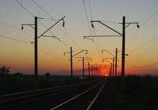 Ferrocarril Puesta del sol Foto de archivo libre de regalías