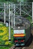 Ferrocarril ruso. El tren de pasajeros Fotografía de archivo libre de regalías