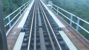 Ferrocarril sobre el puente y el bosque almacen de video